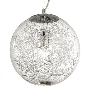 Kugelpendelleuchte mit klarem Glas in 30cm Durchmesser 30,00 cm, 125,00 cm