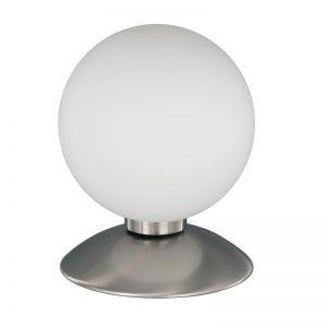 Kugel-Tischleuchte mit Touchdimmer, Nickel-matt weiß/stahlfarbig, Nickel-matt
