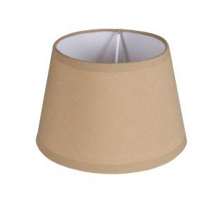 Lampenschirm aus sandfarbenem Stoff rund Ø 20cm Aufnahme E27 unten