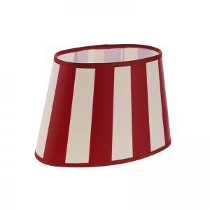 Lampenschirm aus Stoff in Creme mit roten Streifen ovale Form Aufnahme unten E27