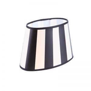 Lampenschirm aus Stoff in Creme mit schwarzen Streifen oval Aufnahme E27 unten