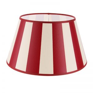 Lampenschirm aus Stoff in Creme mit roten Streifen rund Ø 30cm Aufnahme E27unten