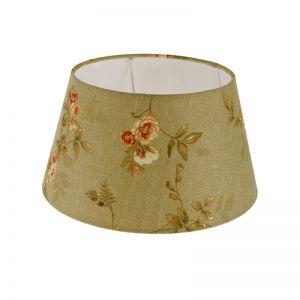 Lampenschirm aus Stoff in Grün mit Blumenmotiv rund Ø 25cm Aufnahme E27 unten
