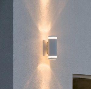 LED Up & Down Außenwandleuchte in Weiß, rund, H:24cm,  mit Rundumlicht und Licht nach oben und unten, Strahler aus Aluminium IP44 wetterfest für die Hauswand, Wandlampe inkl. GU10  LED warmweiß
