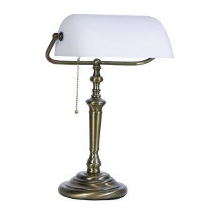LED Bankerlampe altmessing, Glas weiß, Zugschalter inkl. LED LM