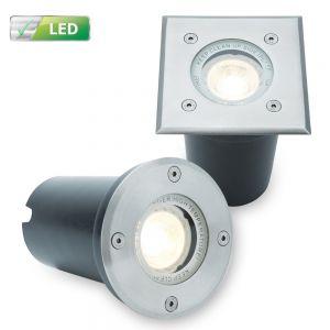 LHG LED Bodeneinbaustrahler, inkl.ED GU10 5,8 Watt, in rund oder eckig