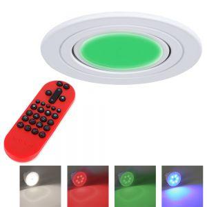LED Decken-Einbaustrahler alu, rund inkl. Fernbedienung