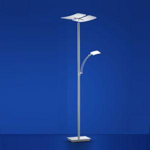 LED Deckenfluter Duo mit Lesearm und Memoryfunktion von B-Leuchten Kipp- und drehbarer 182 cm , Stehleuchte