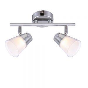 LHG LED Deckenleuchte, Chrom, Kunststoffglas weiß, modern, 2-flammig