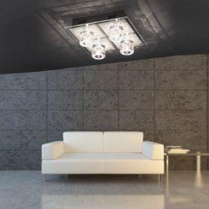 LED Deckenleuchte, Halogen, Chrom, Kristallglas, Fernbedienung, RGB