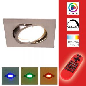 LED Einbauleuchte, Deckenstrahler, Fernbedienung, Farbwechsel, eckig eckig, 8,50 cm, 6,80 cm