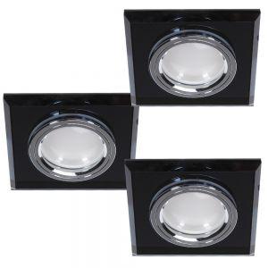 LHG LED Einbaustrahler 3er Set Glas Schwarz 3-fach switchmo dimmbar