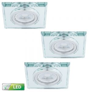 LHG LED Einbaustrahler, 3er Set, Glasrahmen eckig, inkl. LED GU10 5W