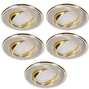 LHG LED Einbaustrahler, 5er Set, Nickel, gold, 3-fach switchmo dimmbar