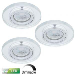 LHG LED Einbaustrahler, Glas rund, 3er-Set, inkl. LED GU10 5W dimmbar