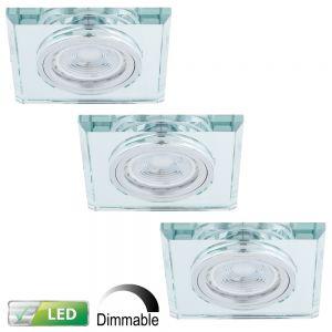 LHG LED Einbaustrahler, Glasrahmen eckig, 3er-Set, LED 5 Watt dimmbar
