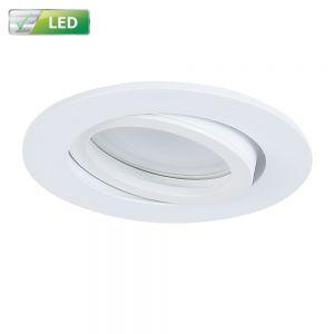 LED Einbaustrahler, weiß, rund, D 8,2 cm, inkl. GU10 LED 5W warmweiß