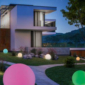 LED Kugelleuchte Außen, Kunststoff weiß, Smart Home steuerbar,2 Größen