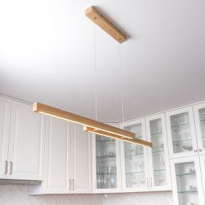 LED Pendelleuchte Smal Double, 120 cm, Holz wählbar