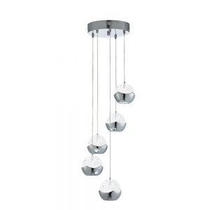 ne LED Pendelleuchte - Glas gefrostet - 5-flammig - LED 30 Watt