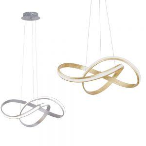 LED Pendelleuchte, Simplydim, stahlfarbig o. goldfarbig, warmweiß