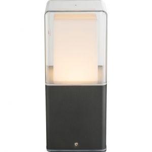LED Sockelleuchte 20 cm hoch Wegeleuchte opal klar Sockellampe schwarz IP44 warmweiß
