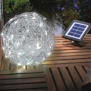 LED Solarleuchte Alu-Wireball mit kaltweißem Licht