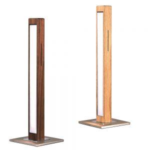 LED Tischleuchte, Massivholz, Asteiche o. Nussbaum, H= 46cm, dimmbar