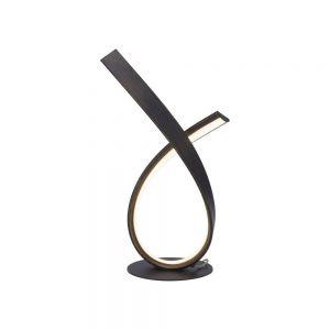 LED Tischleuchte, Metall, Acrylglas, schwarz-rostfarbig, Schnurdimmer rost / rostbraun/schwarz