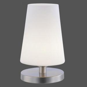 LED Tischleuchte, Opalglas, Touchdimmer, Stahlfarbig, warmweiß stahlfarbig