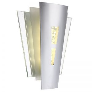 LED Wandleuchte aus Opal- und Spiegelglas-Kristall