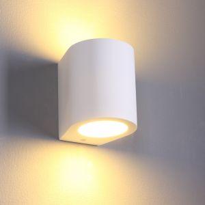 LHG LED Wandleuchte aus weißem Gips - rund
