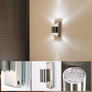 Wandleuchte Spotleuchten Schwenkbare LED Spotbeleuchtung Chrom Silber für Flur