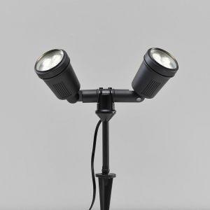 LED Wandleuchte, Erdspieß, Farbscheiben, ausrichtbar, 2 Strahlerköpfe