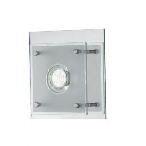 LED Wandleuchte, quadratisch, Chrom, Glas, LED warmweiß, modern