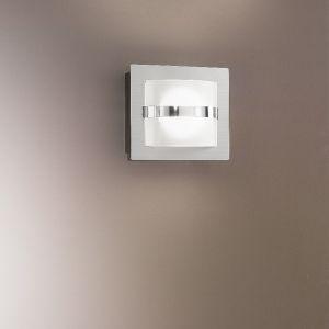 LED Wandleuchte, quadratisch, Nickel, Glas weiß halbrund, 1-flammig