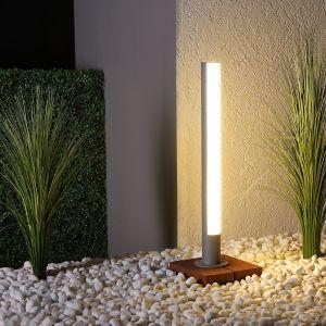 LED Wegeleuchte, Aluminium, Grau, 70cm hoch, Glas, modern, warmweiß