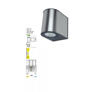 LED-Außenwandleuchte aus Edelstahl, Up & Down, Höhe 13,5cm 1x 24 Watt, 13,50 cm, 10,60 cm, 14,10 cm