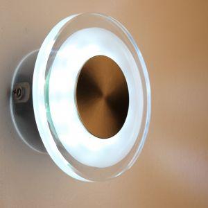 LED-Außenwandleuchte rund, teilsatiniertes Glas
