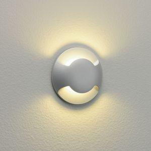 LED-Bodeneinbauleuchte rund, silber lackiert, 2 Lichtauslässe 2-flammig