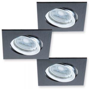 LHG LED-Decken Einbaustrahler 3er-Set Metall  Schwarz