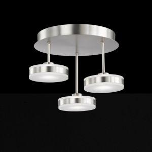 LED-Deckenleuchte Acyrlglas weiß, 3-flammig, nickel matt silber, rund, 2007 Lumen, warmweiß