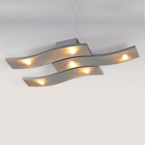 LED-Deckenleuchte Cascade in Aluminium geschliffen