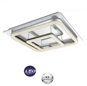 LED-Deckenleuchte in Chrom, Kristalle, 50x50cm