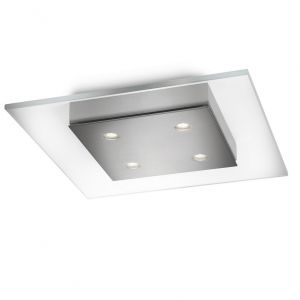 LED-Deckenleuchte eckig 4-flg, dimmbar, Klarglas / Stahl gebürstet