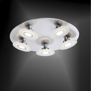 LED-Deckenleuchte Nickel / Glas - 5 x 5,5Watt LED