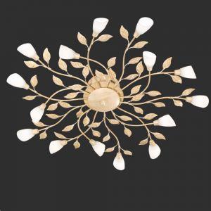 LED-Deckenleuchte Reposa in floraler Optik, weiß-antik altweiß/weiß