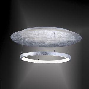 LED-Deckenleuchte rund, edle Oberfläche Blattsilber, 27W LED silber, Blattsilber
