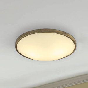 LED-Deckenleuchte rund, Metall brüniert, Glas, 3 Größen