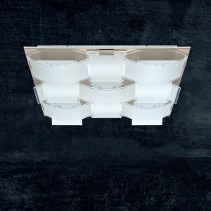 LED-Deckenleuchte, 57x57cm, Glas geschwungen